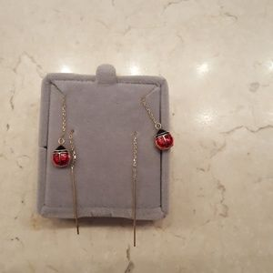 Jewelry - 14k YG Ladybug Threader Earrings